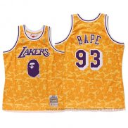 Camiseta Los Angeles Lakers Bape #93 Mitchell & Ness Amarillo