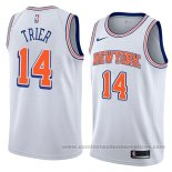Camiseta New York Knicks Allonzo Trier #14 Statement 2018 Blanco